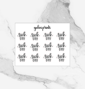 Sick Day - Handlettered Script Stickers
