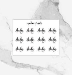 Study - Handlettered Script Stickers