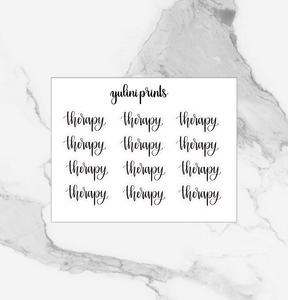 Therapy - Handlettered Script Stickers