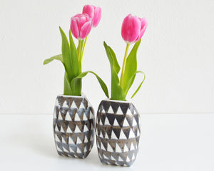 TRIANGLE Porcelain Flower Vase - Grey