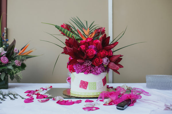 Custom Design Cake with Red and Magenta Flowers