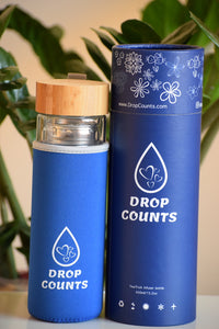 DropCounts bottle with sleeve and the tube package ready for gifting.