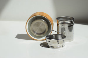 DropCounts - Showcasing 2 SUS 304 stainless steel strainers and a bamboo lid with steel interior and a silicon seal.