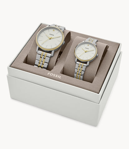 Fossil Lux Luther Silver/Gold Stainless Steel Watch BQ2467SET