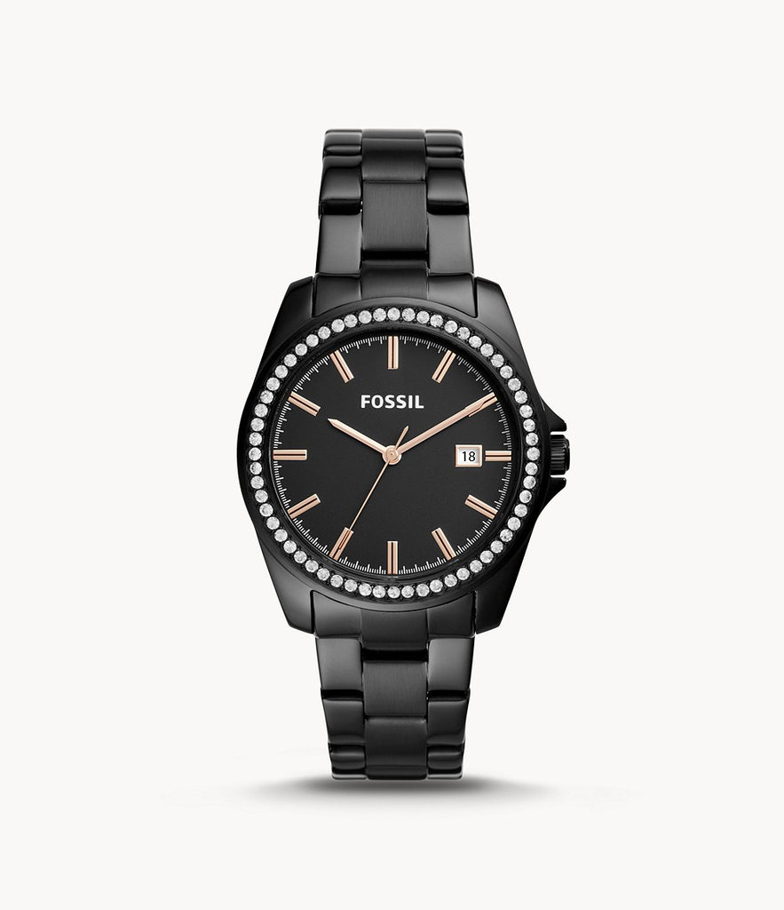 Fossil Janice Three-Hand Black Stainless Steel BQ3318