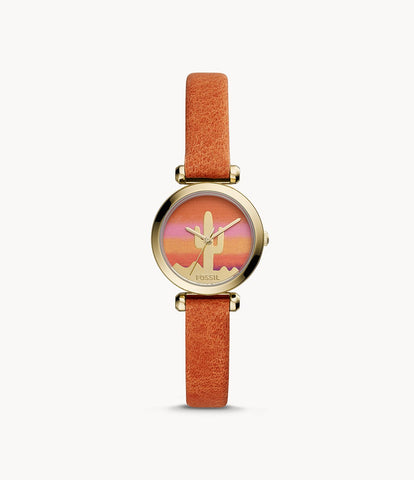 Fossil Tillie Mini Orange Leather Watch BQ3623