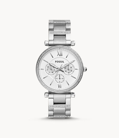 Fossil Carlie Multifunction Silver Stainless Steel Watch ES4541