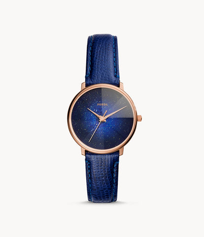 Fossil  Prismatic Galaxy Three-Hand Blue Leather Watch ES4729
