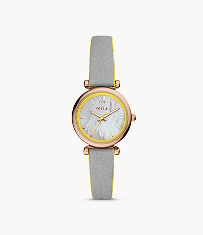 Fossil Carlie Mini Three-Hand Gray Leather Watch ES4834