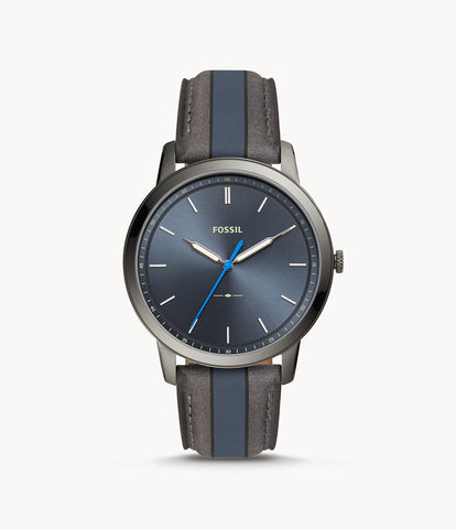 Fossil Minimalist Blue/Grey Leather Watch FS5555