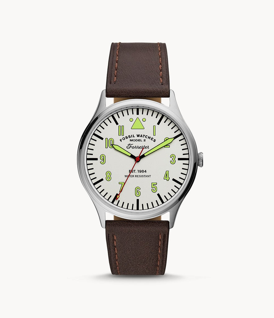 Fossil Forrester Three-Hand Brown Leather Watch FS5610