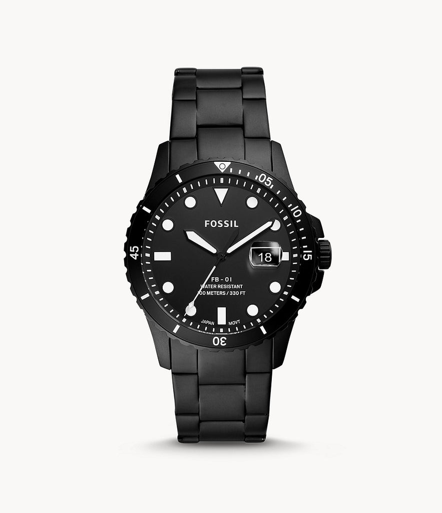 Fossil FB-01 Three-Hand Date Black Stainless Steel Watch FS5659