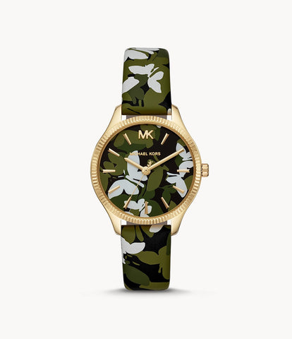 Women's Lexington Green Floral Printed Leather Watch Butterfly MK2811
