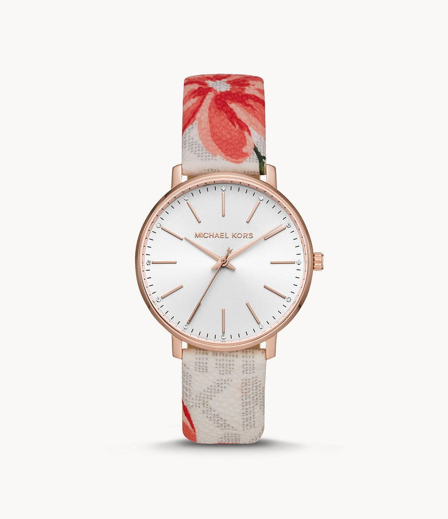 Michael Kors Pyper Three-Hand Multicolor Floral-Print PVC Leather Strap MK2895