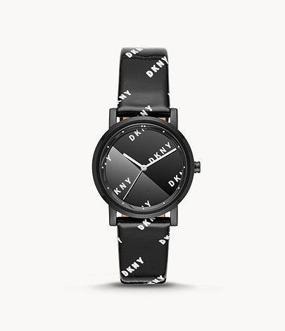 DKNY Women's Black Leather Watch NY2805