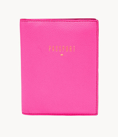 Fossil Passport Case in Neon Pink