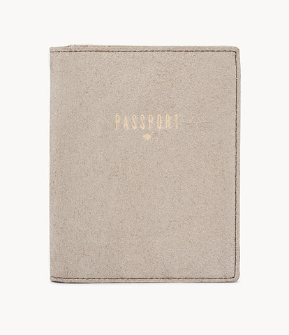 Fossil Passport Case in Champagne