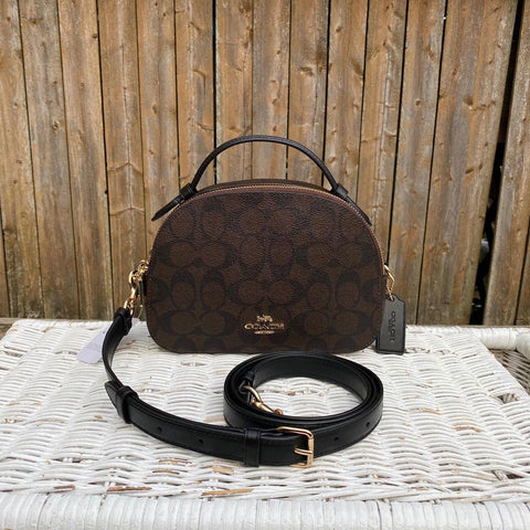 Coach Signature Serena Satchel in Brown/Black