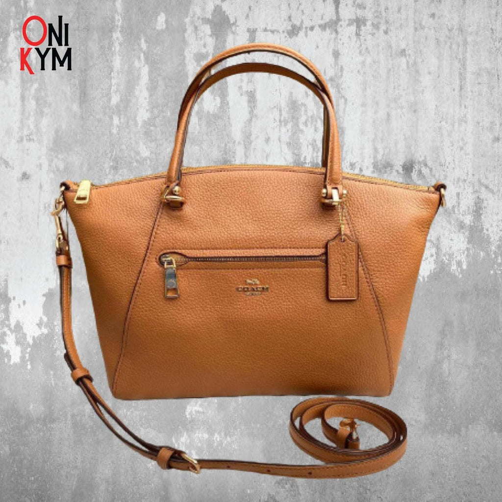 Coach Pebbled Leather Prairie Satchel in Light Saddle