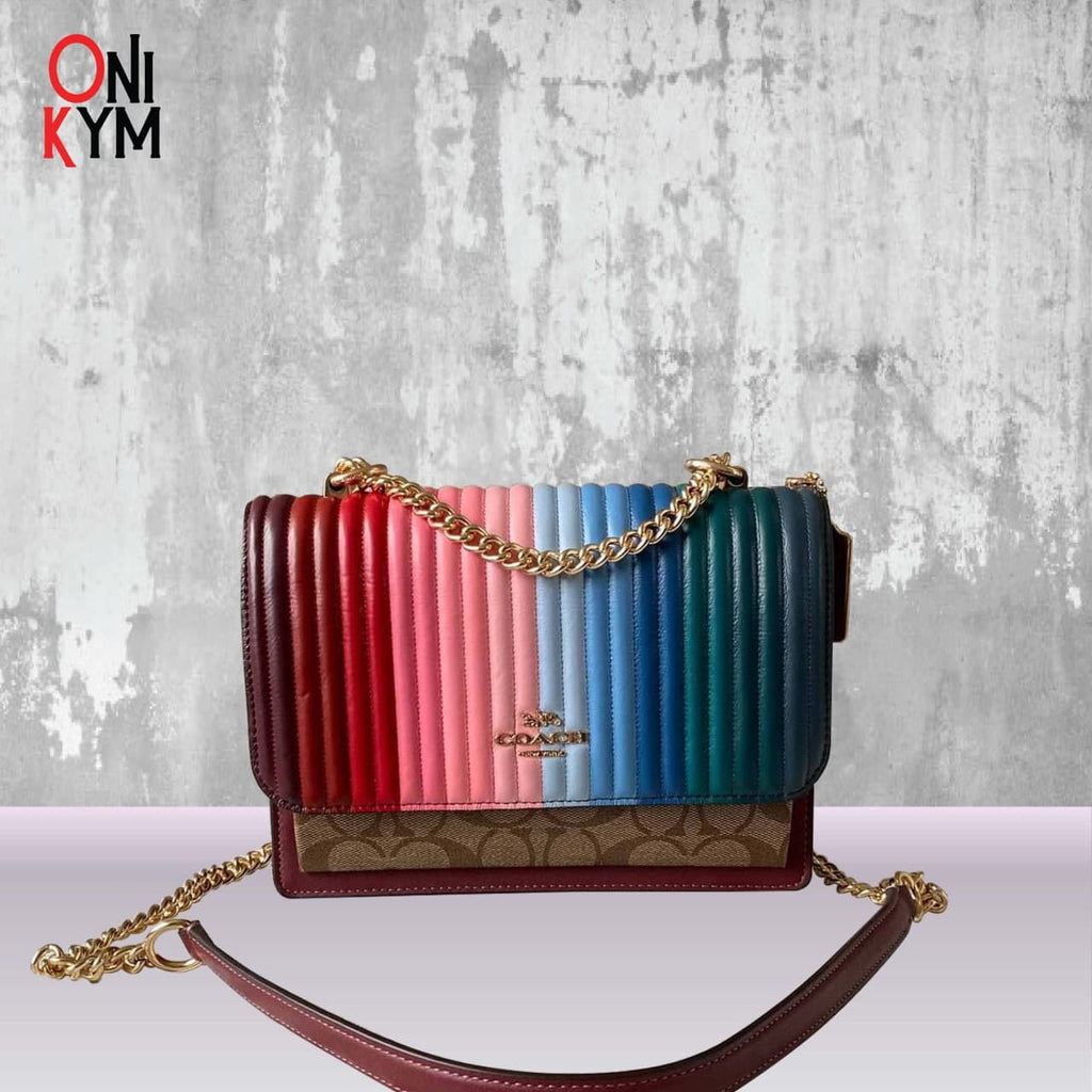 Coach Klare Crossbody with Rainbow Linear Quilting in Khaki/Candy Pink Multi (C1446)