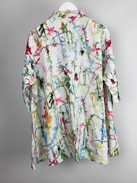 GRIZAS linen paint splatter blouse size L