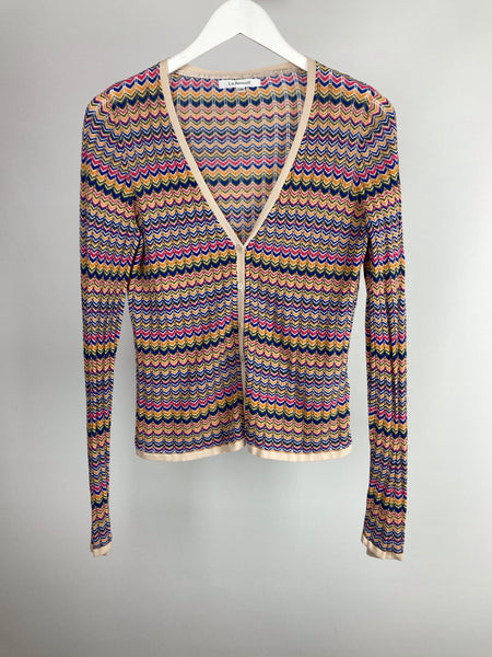L.k.Bennett cotton zig zag cardigan size large (uk12/14)