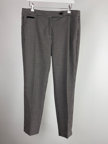 Benetton black and white check trousers size uk14