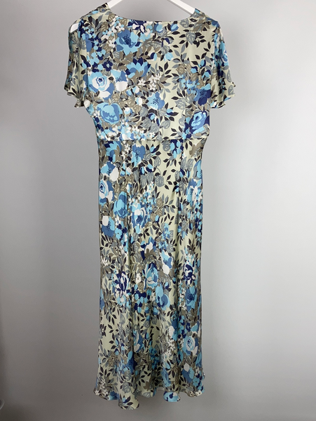 East silk floral mid calf length dress size uk14