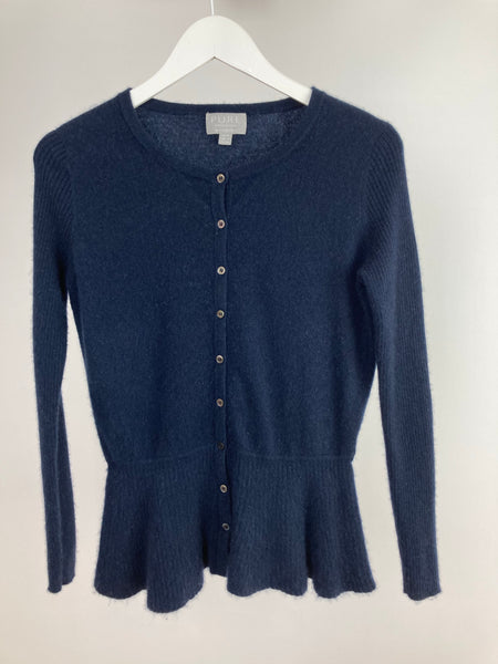 Pure cashmere navy cardigan size uk12