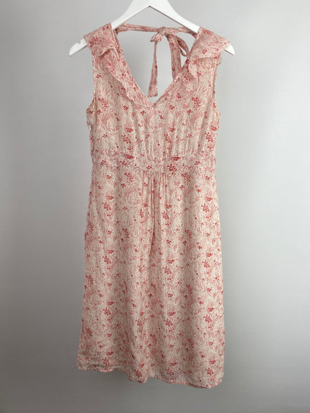 Jigsaw pink floral silk lined dress size uk10