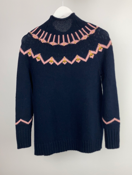 Whistles navy pattern jumper size XS