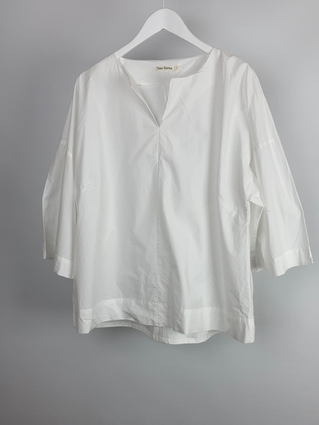 Two Danes cotton white top size L