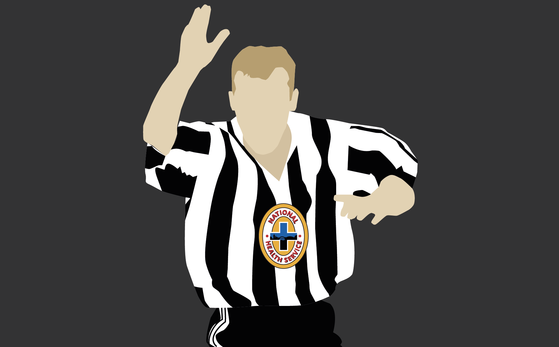 Alan Shearer in a Newcastle United 1995-97 shirt, manufactured by Adidas.