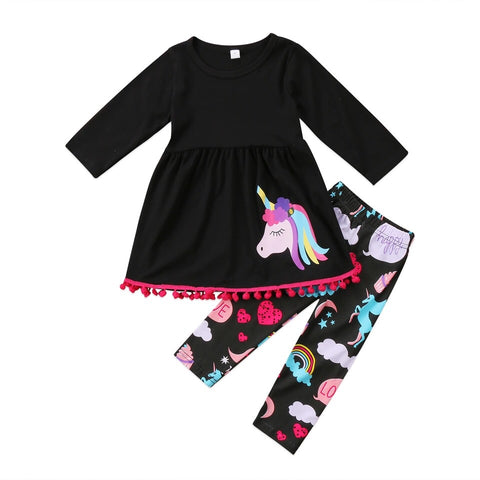 Black 2 piece Unicorn Top/Bottom set