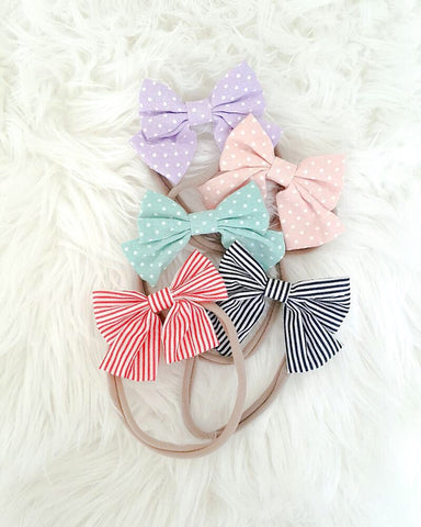 5 pcs Nylon Headband Stripes & Polka Dots
