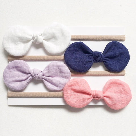 Handmade Solid Nylon Bow Headband 4 pack