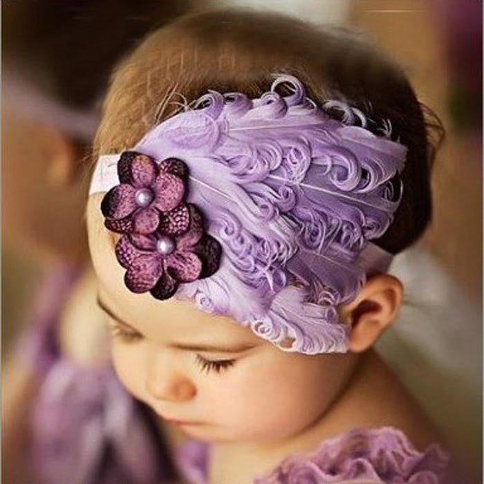 New Flower Cotton  Hairbands Girls Headband  Light Purple Feather Hair Accessories