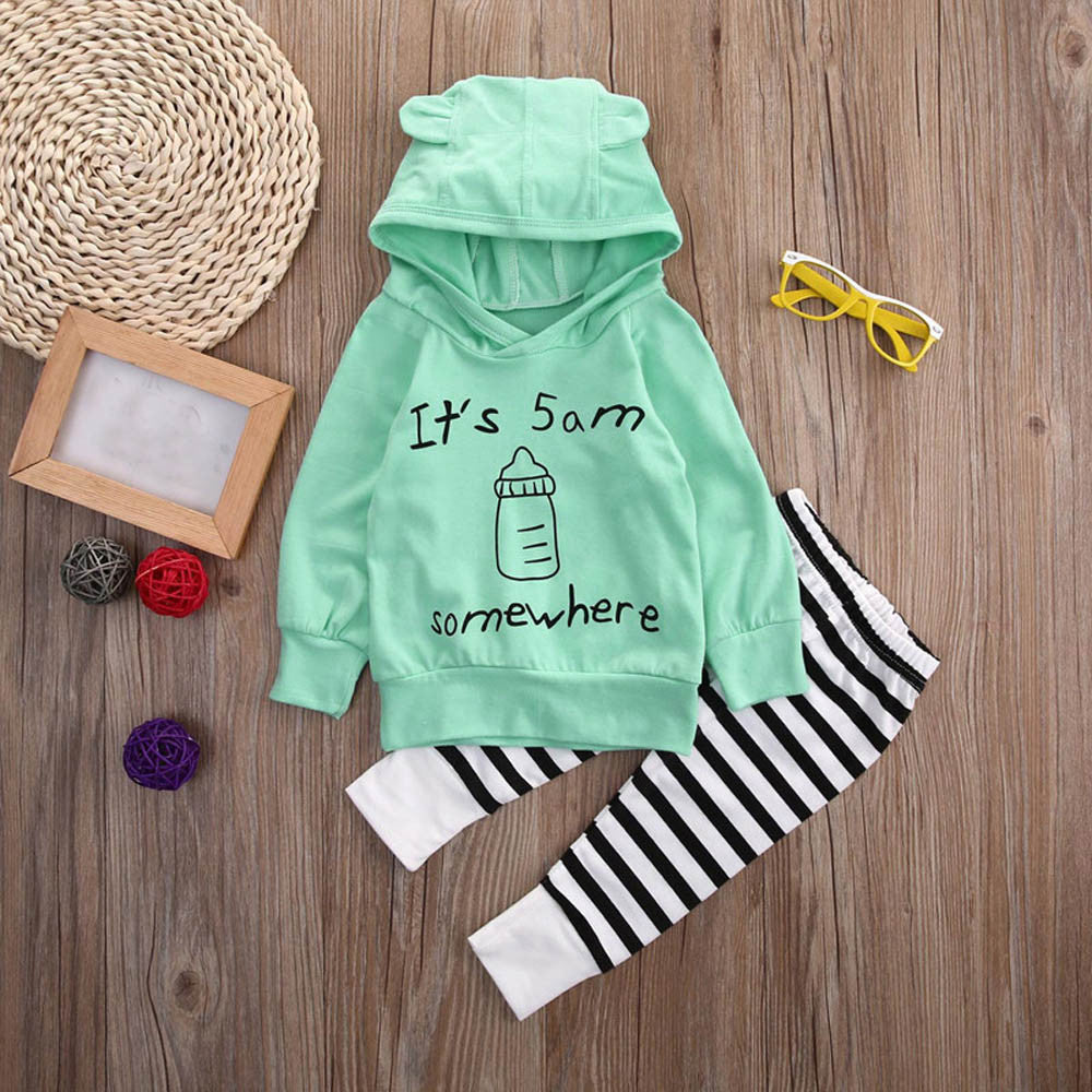 Milk bottle striped hooded ear set Baby boys girls Sweatshirt Tops+Long Pants Outfits Clothes