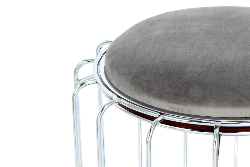 Table d'appoint & Pouf - 2 IN 1 - Comfortable 110 Gris - Argent