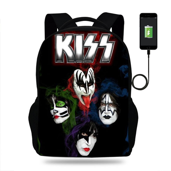17inch Stormtroopers Fan Kiss Rock band Print USB Port Backpack For Teenager Boys Student School Bags Children Girls Mochila