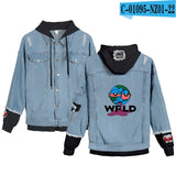 Fashion Boy's Denim Jean Stitching Jacket juice wrld wear Clothes juice wrld Casual Hoodies Men/Women Hip hop Coat jeans hoodies