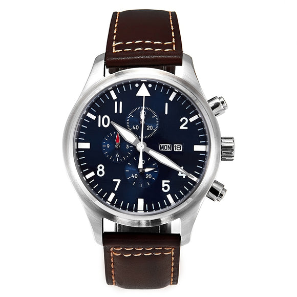 5ATM MIYOTA 45mm Pilot Watch Chronograph Day/Date Full Luminous Domed Sapphire Crystal Leather Strap Blue Dial Little Prince