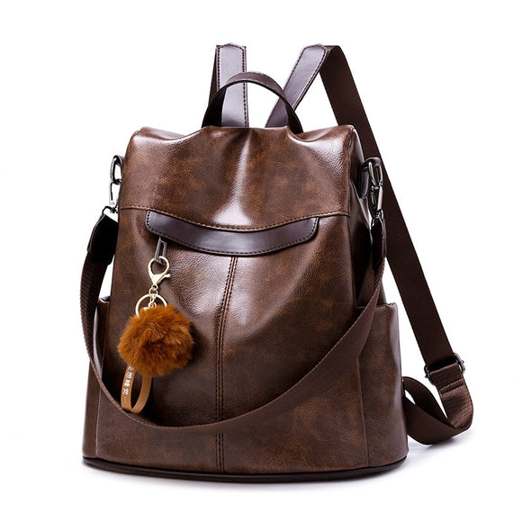 Fashion Vintage Backpack Women 2020 Anti Theft Travel Backpacks Mochila Feminina Soft PU Leather School Bags College Rucksack