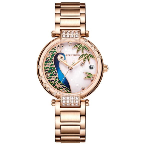 2020 New Reef Tiger / RT Luxury Rose Gold Watch White Dial Steel Women Automatic Mechanical Watches RGA1587