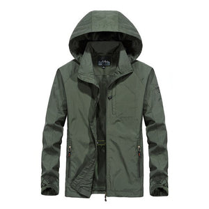 Hooded Jacket Man Quick Drying Clothes Wear Plus-sized Casual Outdoor Sports Clothing Jacket Medium-length Jacket