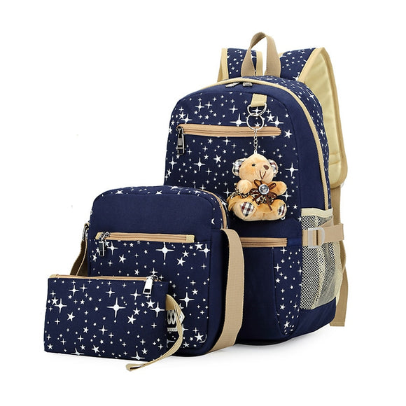 Fashion Canvas School Backpack For Girls Set Little Stars Prints Women Casual Travel Bag Preppy Style Mochilas Schoolbook Bag