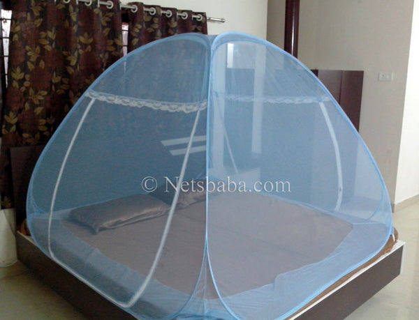 Folding Mosquito Net For Bed - Polyester Fabric Blue Variant