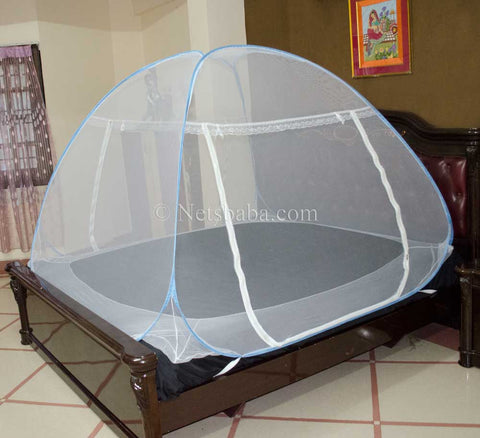 Folding Mosquito Net For Bed - White Polyester Blue Variant