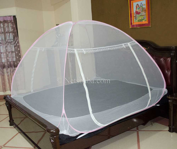 Folding Mosquito Net For Bed - White Polyester Pink Variant