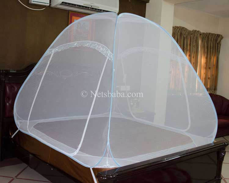 Foldable Mosquito Net For Bed - Terylene Fabric Blue Variant : tent netting fabric - memphite.com